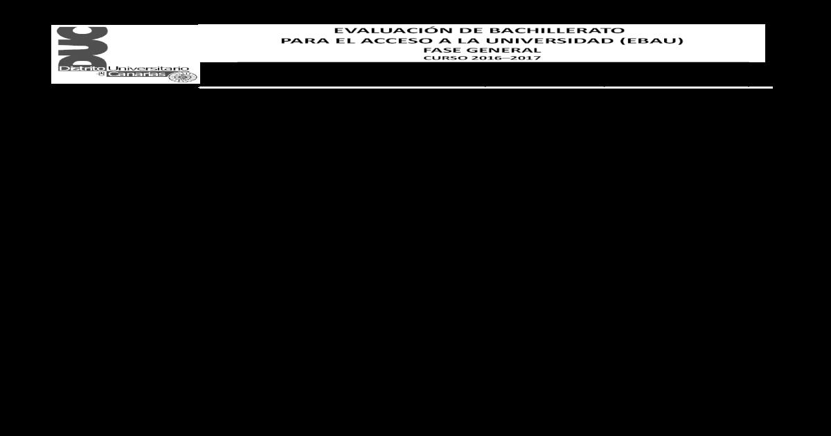 EVALUACIN DE BACHILLERATO PARA EL ACCESO A ??answer key
